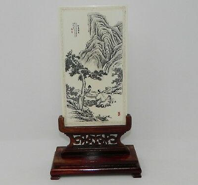 Antique Chinese Plaque Hand Carved & Polychrome & Wood Stand No. 1