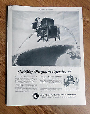 1950 RCA Ad Overseas Teleprinter Service by Radio Flying Stenographers