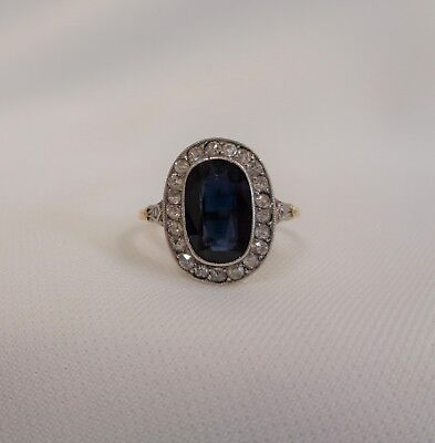 Antique Sapphire and Diamond Cluster Ring 18ct Gold and Plat - Size K (US 5.25)