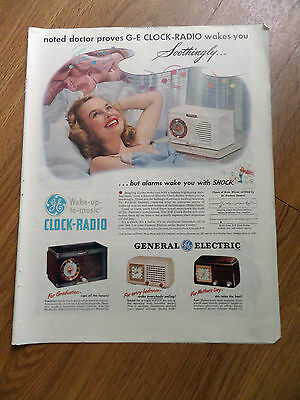 1948 GE General Electric Clock Radio Ad