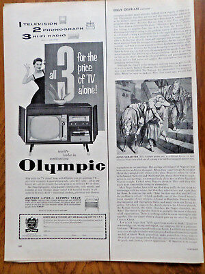 1956 Olympic TV Television Phonograph Hi-Fi Radio Ad