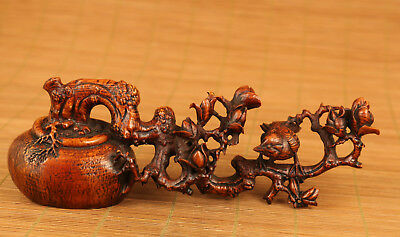 old chinese Boxwood hand carving bonsai  statue flower Bird netsuke decoration