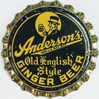 ANDERSON'S OLD ENGLISH STYLE GINGER BEER Soda Bottle Cap Crown UNUSED CORK Caps