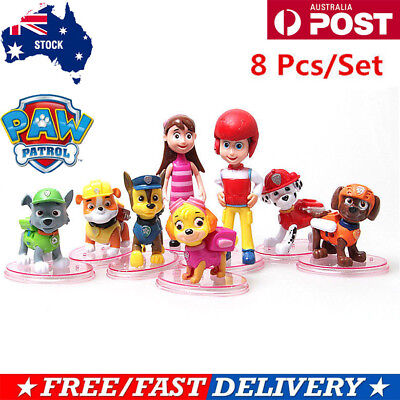 8 Pcs Paw Patrol Dog Puppy Rescue Character Toys Figure Figurine Cake Topper