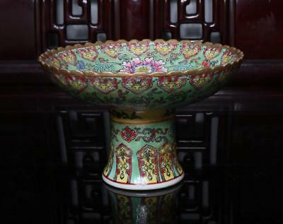 Old Rare Famille Rose Chinese Porcelain Flower High Dish Qianlong MK H4.53""
