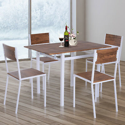 HOMCOM 5Pcs Drop-leaf Dining Set Wooden Bar Expandable Table Chair Kitchen