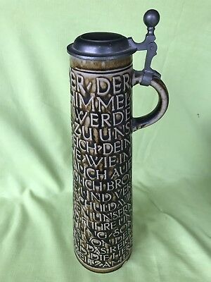"A Pre 1940  Rmg 1624 German Stein Decorated W. The Lord's Prayer ""vater Unser"""