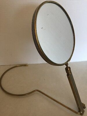 Vintage Hand Held Brass Mirror With Folding Stand
