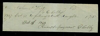 1847 Dentist E. Colby Receipt for Filling 2 Teeth(Frederick,MD?)