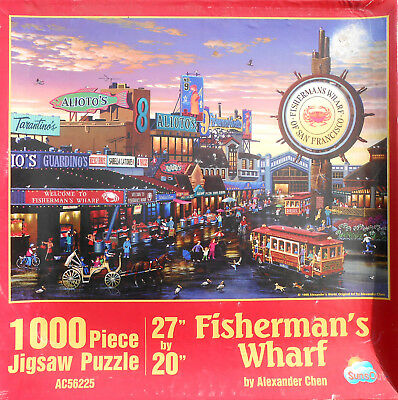 FISHERMAN'S WHARF~1000 pc puzzle by Alexander Chen   COMPLETE!