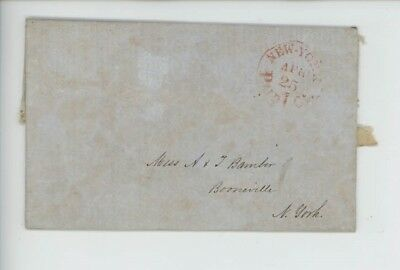 Mr Fancy Cancel Stampless Red New York Boonville NY Paid 1 ct 1852 FLS #4258
