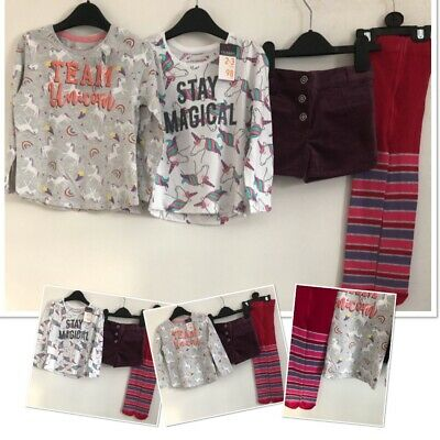 Girls Winter Shorts & New Tags Unicorn Tops & New Tights 2-3 Years Bundle