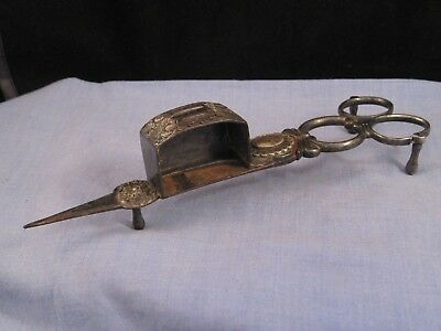 Victorian Antique Metal Scissor Candle Wick Trimmers Snuffer Desktop