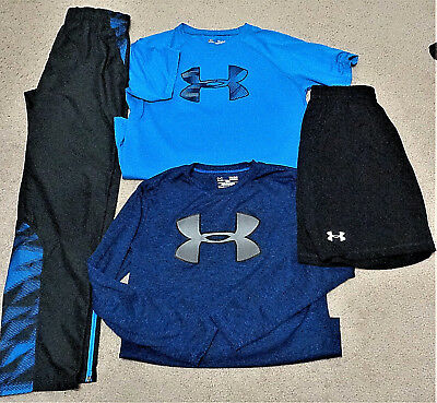 GUC - EUC UNDER ARMOUR Youth Boys Mixed Lot Shirts Pants Shorts Size YLG