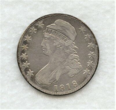 1818 Capped Bust Half Dollar With VF Details Cleaned