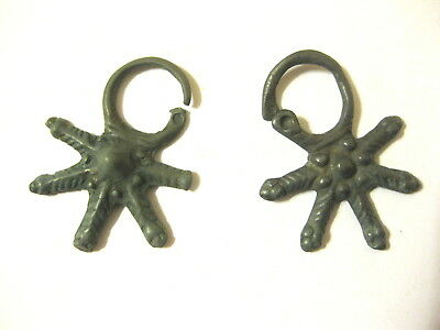 "Two Medieval female decoration bronze pendants ""Kolt"" Kievan Rus 12-13 AD"