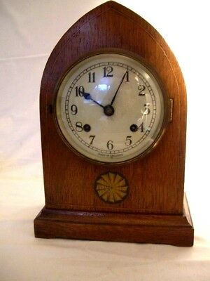 Edwardian Inlaid Oak Mantel Clock- Newhaven-  Working