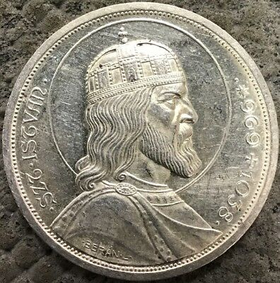 1938 Hungary Silver 5 Pengo Anniversary Of The Death Of St. Stephen.  D