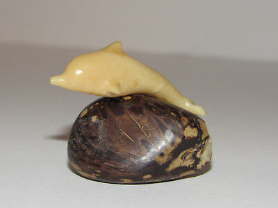Hand Carved Dolphin Figurine Tagua Nut Carving