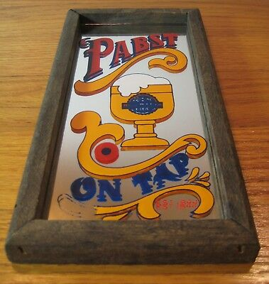 PBR Mirror Vtg Bar Advertising Sign-Wallace Berrie 1975 Pabst Blue Ribbon on Tap
