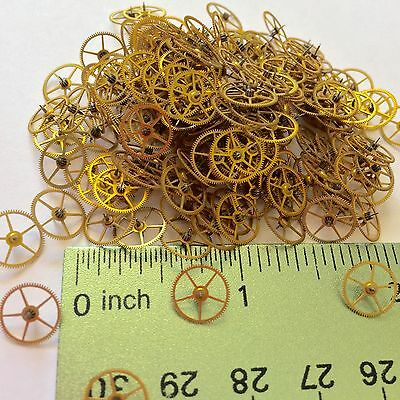 100 Watch Wheels 9mm Steampunk Gears Altered Art Repair Vtg Lot Gold Crafting