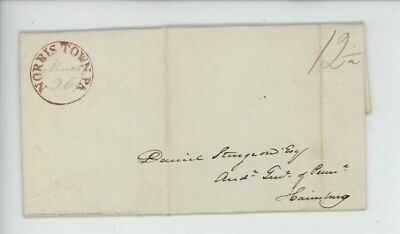 Mr Fancy Cancel Stampless Norristown PA Harrisburg PA 1833 FLS #4263
