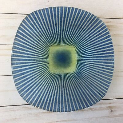 Vtg Signed Maurice Heaton Modernist Shallow Bowl Dish Art Glass Blue Yellow MCM