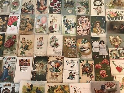 Vintage Mixed Lot of 55 Holidays & Greetings Postcards-Antique-~in Sleeves-a616