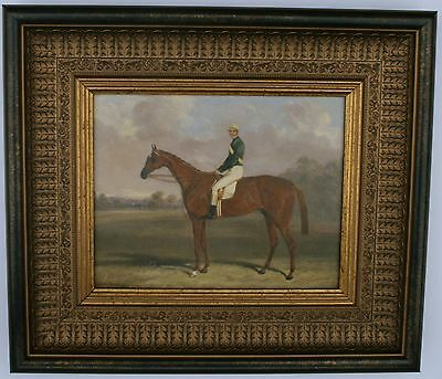 Horse and Jockey  Framed Oleograph R209#W   Reproduction Antiques  , Art