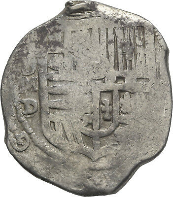 LANZ SPAIN HISPANIA FELIPE PHILIP III or IV 8 REALES COB MEXICO  SILVER ±NER2044
