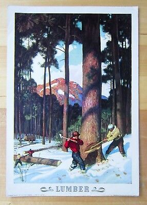 """Vintage 1943 COCA COLA """"Our America"""" Poster by NC WYETH Lithograph-LUMBER 16x11"""""""