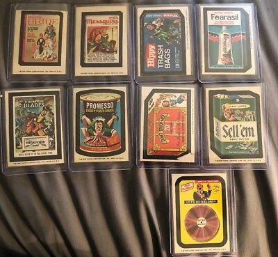 (9) 1975 TOPPS WACKY PACKAGES STICKERS LOT (ALL Brown BACKS)