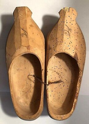 Antique Hand Carved Wood Wooden Shoes Clogs Dutch Holland Primitive