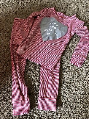 CARTER'S Girls Size 3T Merry And Bright Long Sleeved 2 Piece Pajamas Set