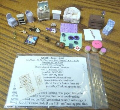 1/48 scale Dollhouse Miniature Sofa Chairs Guitar Lamp Chest Pans Rug Kit Lot