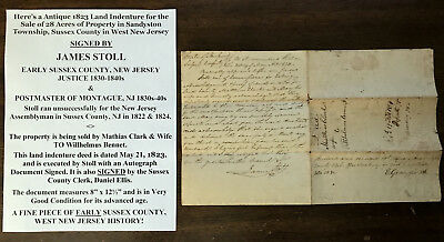 1823 Sussex County West New Jersey Justice Sandyston Land Document Signed 28 Acr