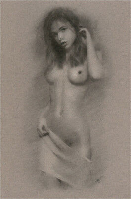 Female Nude ORIGINAL DRAWING Charcoal Art Classic Naked Lady signed NO RESERVE