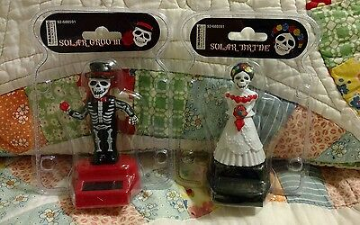 Day of the Dead Dancing Solar Bride & Groom Skeletons Set of 2 New Free shipping