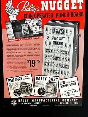 Bally Reliance Advertising, Bally Bell and Coin Operated Punch Board    ORIGINAL