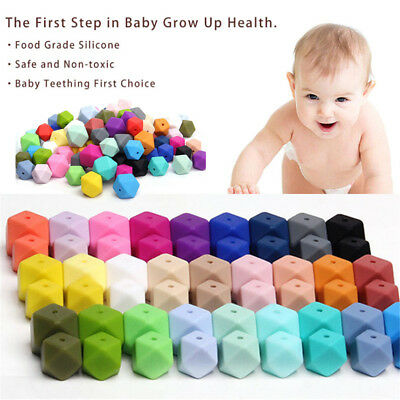 Food Grade Hexagon  Baby Teether Chew Beads BPA-Free Silicone Mom DIY Necklace