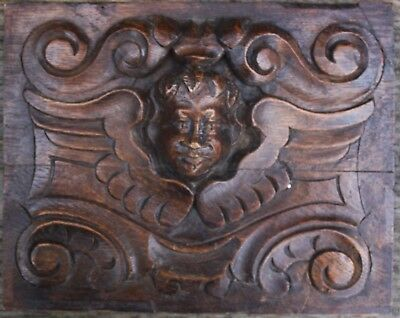 ANTIQUE CARVED OAK PANEL of an ANGEL, Probably Flemish 17th 18th century Gothic