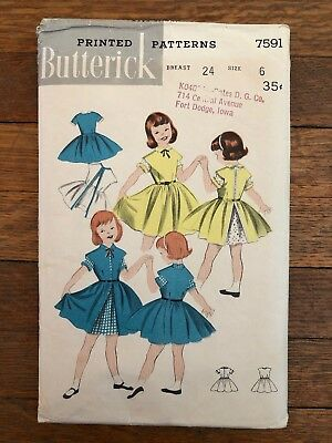 Vintage Butterick Sewing Pattern #7591 Girl's 3-Way Turn-About Ensemble Complete