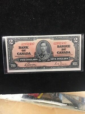 1937  Bank Of Canada $2 Note.gordon./towers..nice Grade!