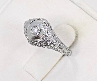 Vintage Art Deco 18k Solid White Gold Diamond Open Filigree Ring ~ Sz 6 ~ 1.8 Gr