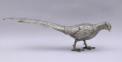 LARGE SOLID SILVER PHEASANT. LENGTH: 41 cm / 16.14 inch