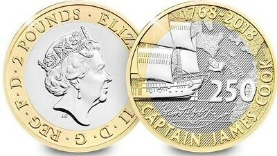 £2 Coin 2018 UK CAPTAIN COOK'S VOYAGE CERTIFIED BU £2 !!Rare & Very Collectable!