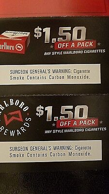 MARLBORO CIGARETTE Two Coupons Each $1.50 Off  - Any Pack EXPIRATION 4/2019
