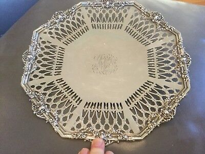 Galt & Bro. Washington DC  Huge Sterling Silver Pierced Serving Tray Reticulated