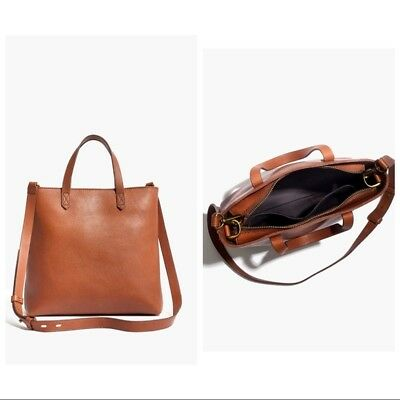48295f02b Madewell Leather Zip-Top Transport Crossbody Tote in English Saddle Brown  Bag