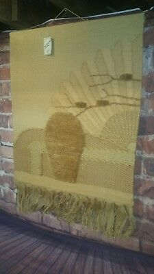 Vintage Fiber Art HAND WOVEN TAPESTRY Wall Hanging Jute Natural Weaving 30X44L